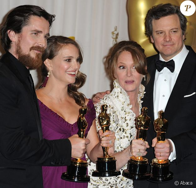 Christian Bale, Natalie Portman, Melissa Leo et Colin Firth lors de la cérémonie des Oscars le 27 février 2011 à Los Angeles