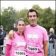 Adeline Blondieau et son fiancé Laurent courent contre le cancer du sein, en octobre 2009.