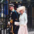 Le Prince Charles et son épouse la Duchesse de Cornouailles lors de leur arrivée à l'Abbaye de Westminster à l'occasion du mariage de Kate Middleton et du Prince William, le 29 avril 2011