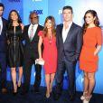 Les animateurs Steve Jones et Nicole Scherzinger, les jurés L.A. Reid, Paula Abdul, Cheryl Cole et Simon Cowell, conférence de presse de la Fox qui diffusera  X Factor , à New York, le 16 mai 2011.