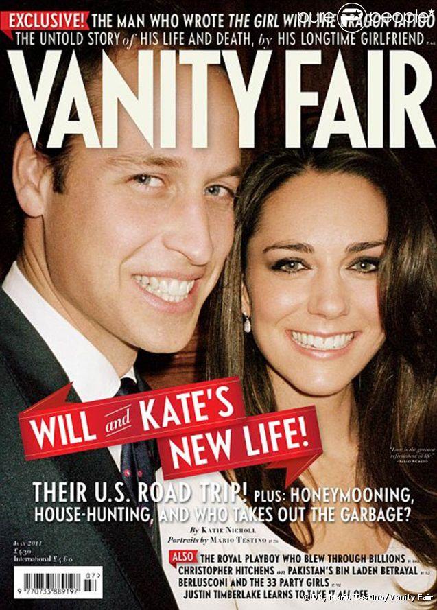 Le prince William et sa femme Catherine, duchesse de Cambridge, respiraient le bonheur au moment de l'annonce de leurs fiançailles, en novembre 2010. Mario Testino avait immortalisé leur joie au Palais Saint-James, et un nouveau cliché surgit en couverture de  Vanity Fair , juillet 2011.