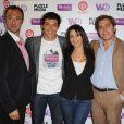 Taïg Khris, Karima Charni, Alexandre Devoise et Frédéric de Vincelles lors de la conférence de presse organisée en vue du prochain record du champion de roller, le jeudi 9 juin 2011.