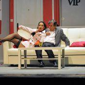 Bernard Menez et sa fille Elisa en bas et perruque rose, un duo cocasse