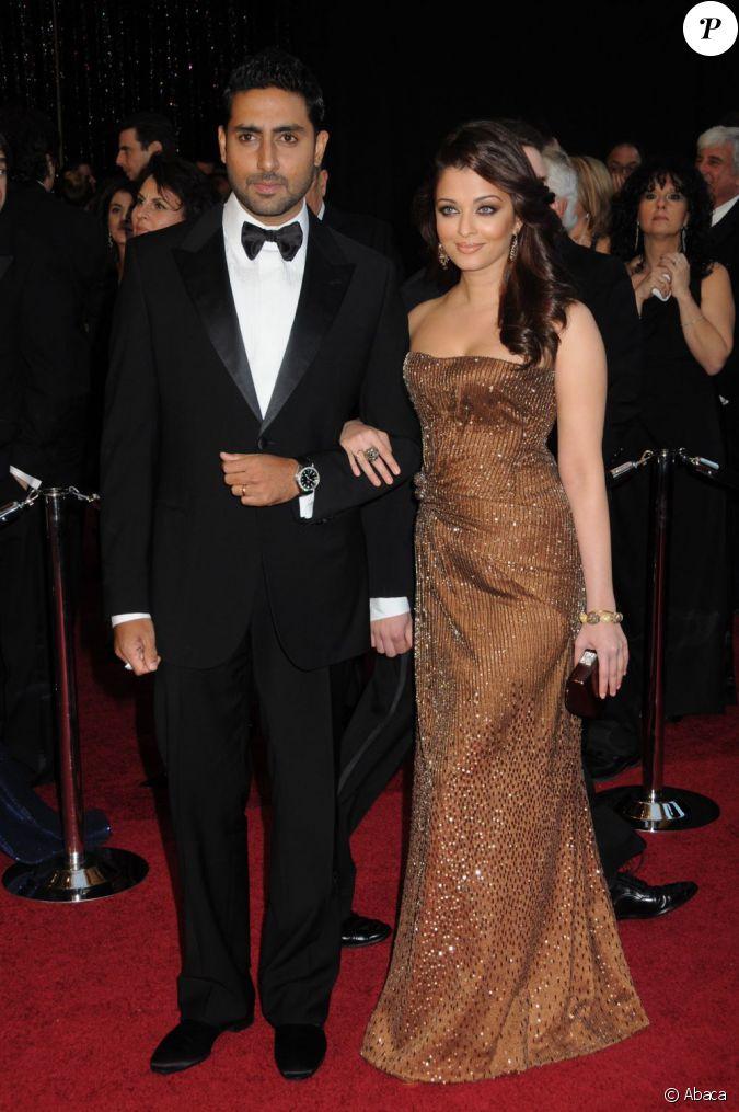 Aishwarya Rai et Abhishekh Bachchan aux Oscars en 2011...