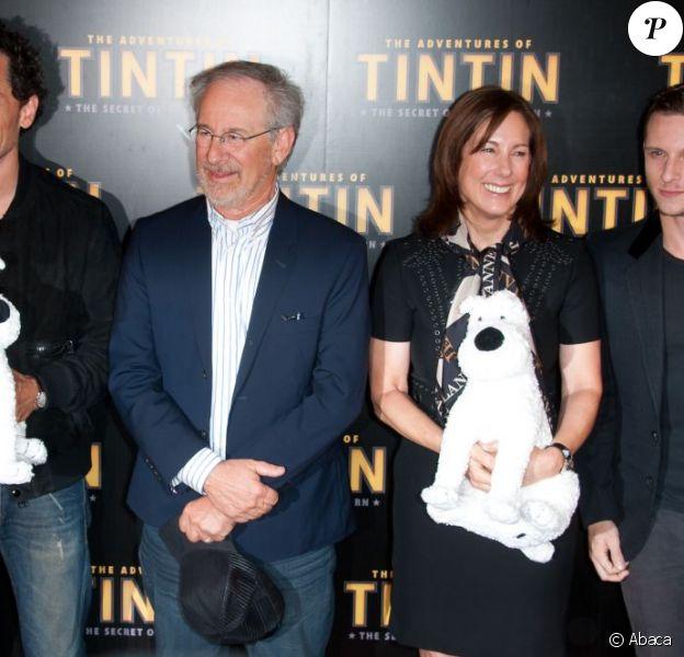 Gad Elmaleh, Steven Spielberg, Kathleen Kennedy et Jamie Bell à Paris lors de la promotion des Aventures de Tintin et le Secret de la Licorne le 19 juillet 2011