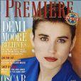L'actrice Demi Moore arborait une coupe garçon pour la couverture du magazine  Premiere  d'avril 1991.