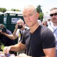 Matt Damon, le crane rasé, lors de la marche Sauvons nos écoles, un rallye contre la réforme de l'école publique à Washington le 30 juillet 2011