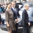 Marraine de la petite princesse Ingrid Alexandra de Norvège, la princesse Victoria de Suède, enceinte et toujours inspirée stylistiquement, était présente avec son mari le prince Daniel pour la célébration des 10 ans de mariage du prince Haakon et de la princesse Mette-Marit à Oslo, le 25 août 2011.
