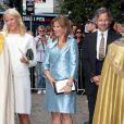 Célébration des 10 ans de mariage du prince Haakon et de la princesse Mette-Marit à Oslo, le 25 août 2011 : la princesse Märtha-Louise de Norvège, présente avec son mari Ari Behn, a notamment lu un passage dela bible lors du service religieux.