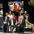 Claude Rich, Nicolas Vaude, Jean-Claude Bouillon, Delphine Rich et Chloé Berthier lors des répétitions de la pièce L'intrus, d'Antoine Rault. Août 2011