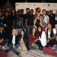 Sandrine Corman et Karima Charni entourées des artistes durant le concert de la Tolérance à Agadir au Maroc le 15 octobre 2011