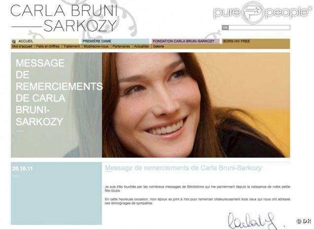 Le message de remerciements de la première dame de France suite à la naissance de sa fille Giulia avec le président Sarkozy.