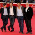 Nicolas Saada, Frédéric Jardin, Tomer Sisley et le producteur Marco Cherqui poru la présentation de Nuit Blanche lors du festival de Rome - octobre 2011