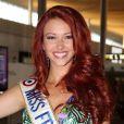 Delphine Wespiser s'apprête à s'envoler pour participer au concours Miss Monde 2012 en Chine le 19 juillet 2012.