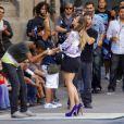 Délirante, Jennifer Lopez sur le tournage de son émission Q'Viva : The Chosen, à Santiago du Chili le 5 décembre 2011
