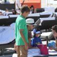 Elias Becker, Lilly Kerssenberg et le petit Amadeus le 26 décembre sur la plage de Miami