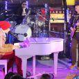 Justin Bieber et Carlos Santana, live pour le Nouvel An à Time Square, New York, le 31 décembre 2011.