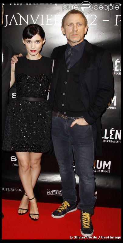 Daniel Craig et Rooney Mara présentent Millénium : Les hommes qui n'aimaient pas les femmes à Paris, le 3 janvier 2012.