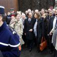 Valérie Trieweiler, François Hollande et Mazarine Pingeot pour le 16e anniversaire de la mort de François Mitterrand à Jarnac, le 8 janvier 2012.