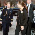 La princesse Victoria de Suède s'est déplacée au centre pédiatrique Astrid Lindgren de l'hôpital universitaire Karolinska, à Solna, le 19 janvier 2012. A moins de deux mois d'accoucher de son premier enfant.