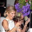 La princesse Maxima des Pays-Bas honorait le 23 janvier 2012 le dîner de gala marquant le 50e anniversaire de la Chambre de commerce américaine aux Pays-Bas, à l'Hôtel de Ville de La Haye.
