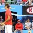 Charlene Riva et Myla Rose, les deux jumelles de Roger Federer le 26 janvier 2012 à Melbourne lors de sa demi-finale perdue face à Rafael Nadal lors de l'Open d'Australie