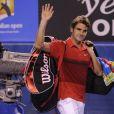 Roger Federer quitte l'Open d'Australie les larmes aux yeux le 26 janvier 2012 à Melbourne après sa demi-finale perdue face à Rafael Nadal lors de l'Open d'Australie