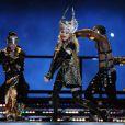 Madonna le 4 février 2012 lors du show donné à la mi-temps du Super Bowl à Indianapolis
