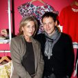 Claire Chazal et Marc-Olivier Fogiellors du lancement de la collection Rodier chez Brand Bazar, à Paris, le 9 février 2012