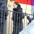 Leighton Meester sur le tournage de la saison 5 de Gossip Girl, le 16 février 2012 à New York