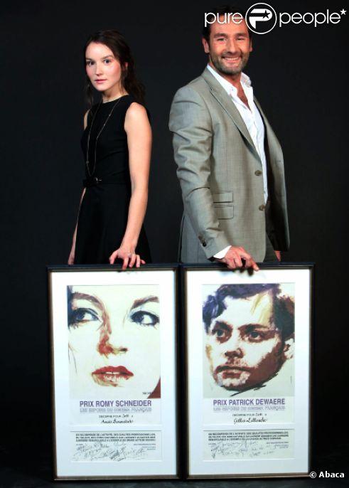 Anaïs Demoustier et Gilles Lellouche et leurs prix Romy-Schneider et Patrick Dewaere en 2011