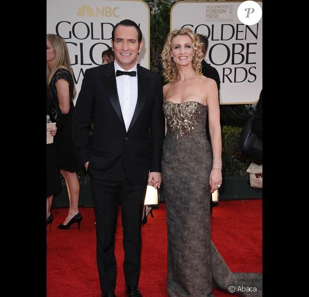 Jean Dujardin et Alexandra Lamy lors des Golden Globes en janvier 2012