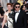 Ludovic Bource, compositeur de The Artist, et sa compagne arrivent aux Oscars, le 26 février 2012 à Los Angeles.