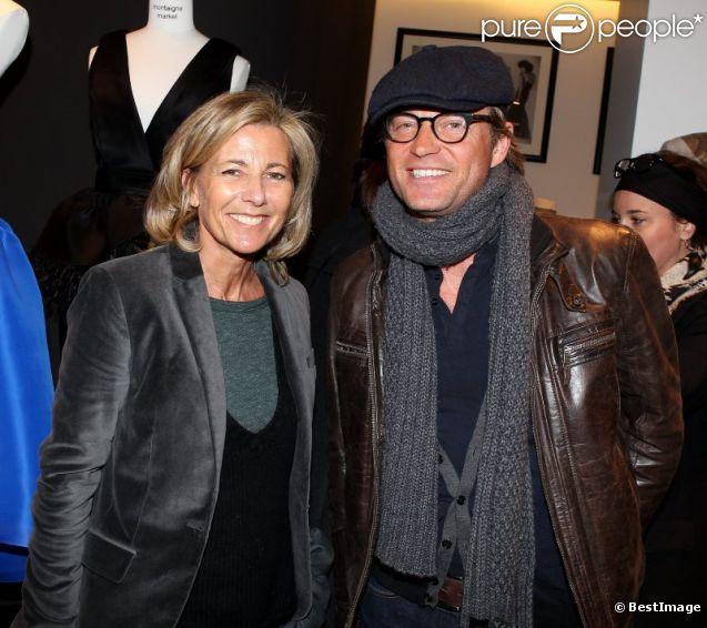 Claire Chazal et Laurent Delahousse lors de la présentation de la nouvelle collection joaillerie Stone chez Montaigne Market le 6 mars 2012 à Paris