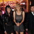 Moments de complicité entre Naomi Campbell et Cathy Guetta lors de la soirée de lancement de la Twizy à l'Atelier Renault sur les Champs-Elysées à Paris le mardi 28 mars 2012