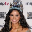 Ivian Sarkos, Miss Monde 2011 lors de la soirée d'ouverture du MIP TV à Cannes au Martinez à Cannes le 1er avril 2012