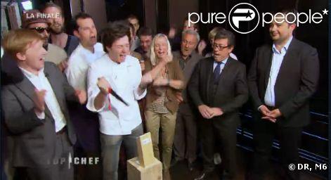 Jean sacré vainqueur lors de la finale de Top Chef 3, lundi 9 avril 2012 sur M6