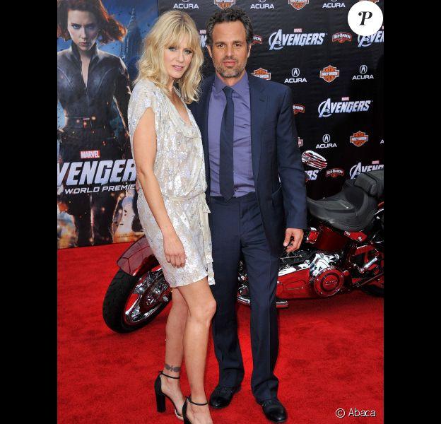 Mark Ruffalo et sa femme Sunrise Coigney à l'avant-première d'Avengers, à Los Angeles le 11 avril 2012.