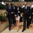 Le prince Albert II de Monaco et la princesse Charlene étaient lundi 16 avril 2012 au Monte-Carlo Country Club lors du Women's Day inaugurant le Masters 1000 de Monte-Carlo pour décerner à Novak Djokovic la Médaille en Vermeil de l'Education physique et des Sports, en présence de sa compagne de longue date Jelena Ristic.