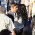 Justin Bieber reçoit la visite de Selena Gomez sur le tournage de son clip  Boyfriend , à Los Angeles, le samedi 21 avril 2012.