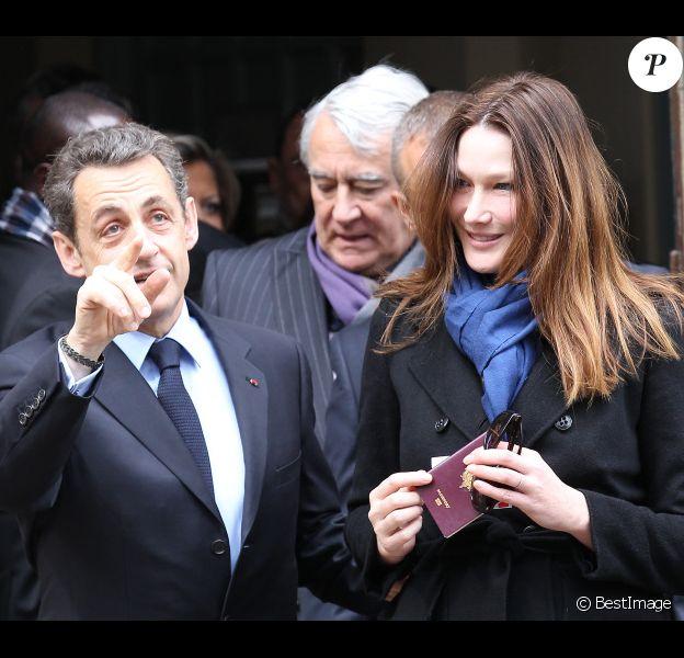 Carla Bruni et Nicolas Sarkozy le 22 avril 2012 à Paris