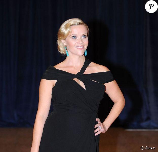 Plus de doute possible sur la grossesse de Reese Witherspoon au dîner des correspondants de presse à la Maison Blanche. Washington DC, le 28 avril 2012.