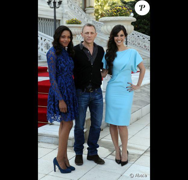 Naomie Harris, Daniel Craig et Bérénice Marlohe lors de la conférence de presse de James Bond - Skyfall à Istanbul (où a lieu une partie du tournage) le 29 avril 2012