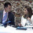 """""""Le prince Felipe et la princesse Letizia d'Espagne au 4e conseil de la Fondation prince de Gérone, à Gérone, le 21 mai 2012."""""""