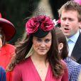 Pippa Middleton lors du mariage de son amie Camilla Hook et de Sam Holland, petit-fils de Lord Attenborough, en Ecosse, le 19 mai 2012. Moins d'une semaine après, la soeur de Kate Middleton 'récidivait', invitée le 25 mai au mariage d'un autre couple d'amis, à Londres.