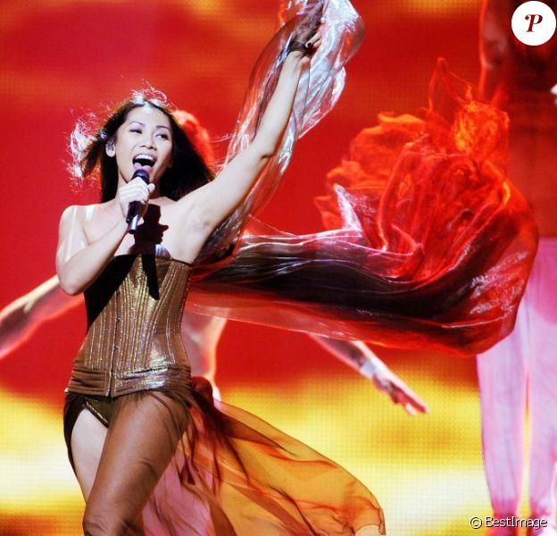 Anggun, à Baku en Azerbaïdjan, lors des répétitions de l'Eurovision 2012, le vendredi 25 mai 2012.