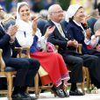 Le prince Daniel et la princesse Victoria de Suède le 14 juillet 2012 lors des célébrations du 35e anniversaire de la princesse.