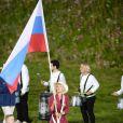 Maria Sharapova, fière porte-drapeau de la délégation russe lors de la cérémonie d'ouverture des Jeux olympiques de Londres 2012. 27 juillet