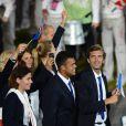 Jo-Wilfried Tsonga suit la délégation française lors de la cérémonie d'ouverture des Jeux olympiques de Londres 2012. 27 juillet