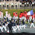 Laura Flessel, fière porte-drapeau de la délégation française lors de la cérémonie d'ouverture des Jeux olympiques de Londres 2012. 27 juillet